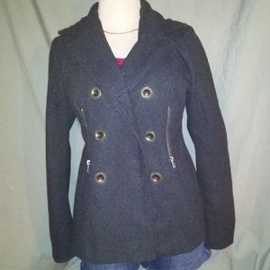 Gray Pea Coat. Size Medium. Brand is Say What.